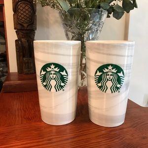 Starbucks Marble Ceramic Tall Tumblers 12 oz x2